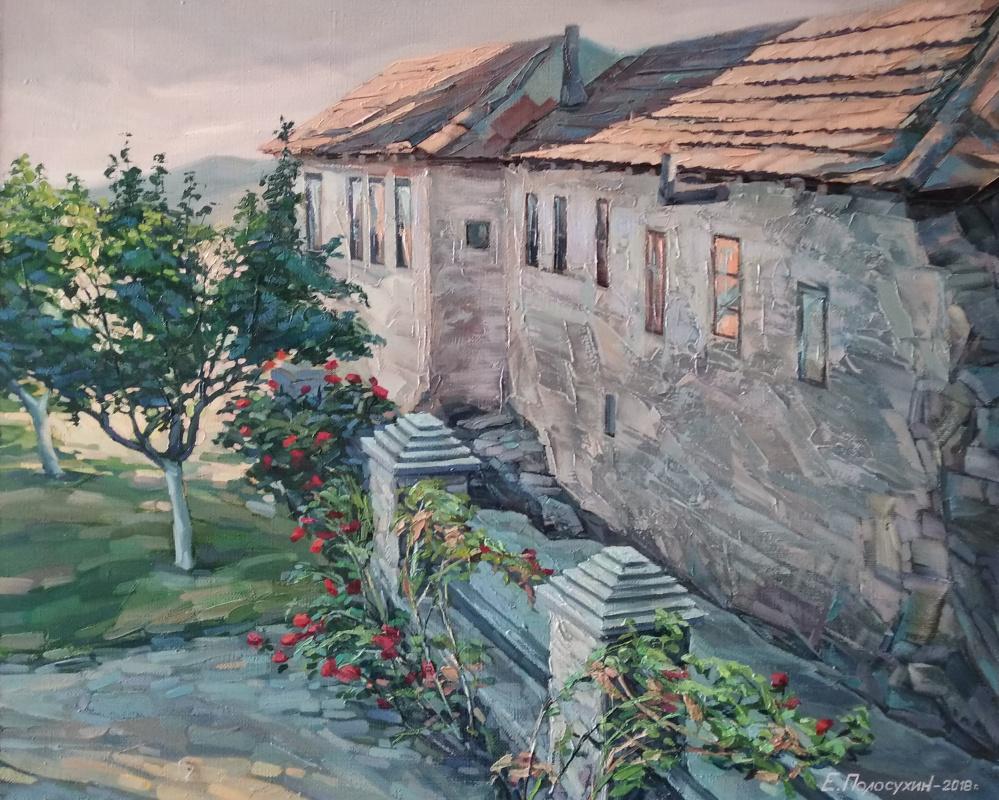 Evgeny Fedorovich Polosukhin. Athos. Kareya. Old courtyard.