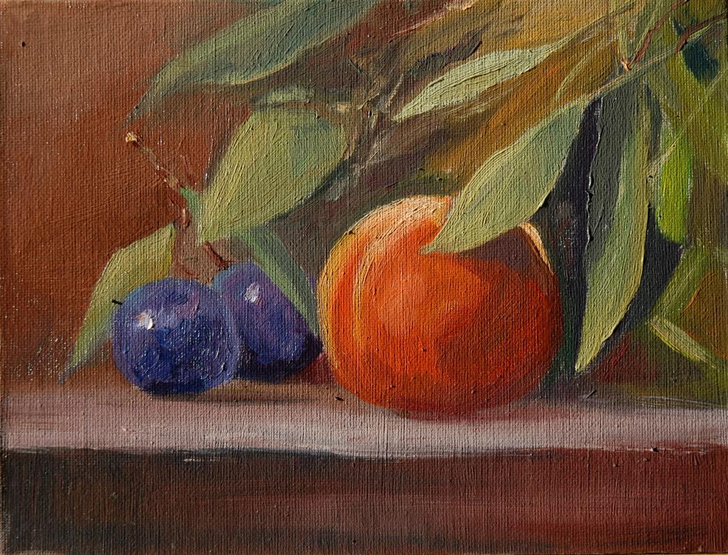 Sergey Valentinovich Karetnikov. Still life with plums and peach