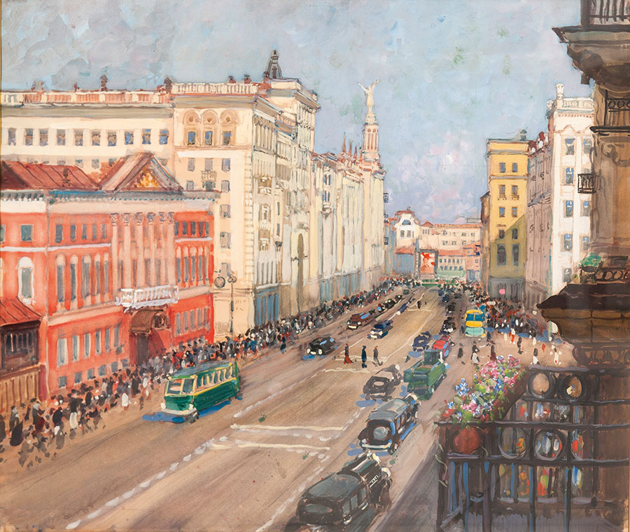 Alexander Mikhailovich Gerasimov. Moscow. At The City Council. Until 1943 mixed media.