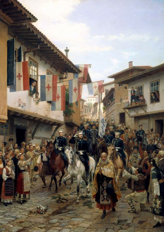 Nikolai Dmitrievich Dmitriev-Orenburg. Entrance of Grand Duke Nikolai Nikolaevich in Tarnovo June 30, 1877