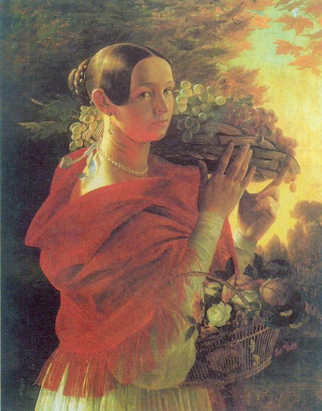 Иван Фомич (Трофимович) Хруцкий. Портрет молодой женщины с корзиной
