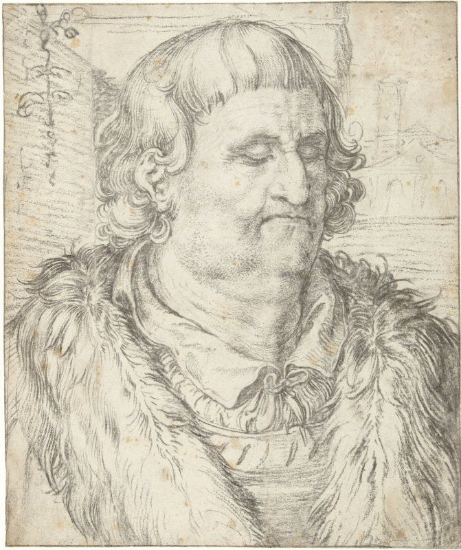 Etude male head in the style of Durer. 1606