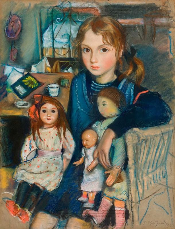 Зинаида Евгеньевна Серебрякова. Дочка Катя с куклами