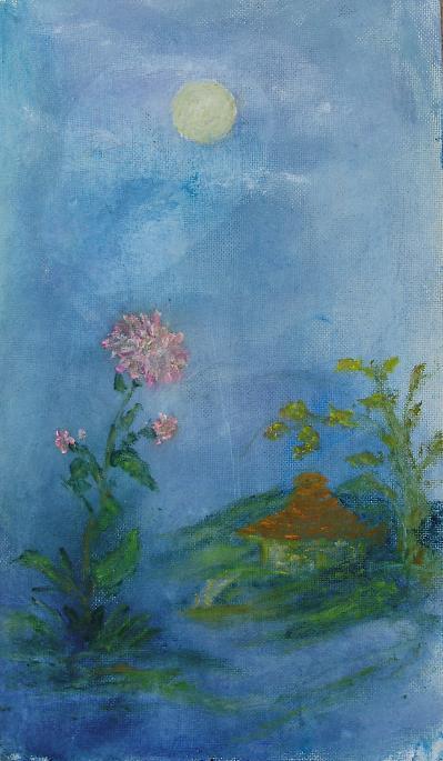 Rita Arkadievna Beckman. Moon, chrysanthemum, house