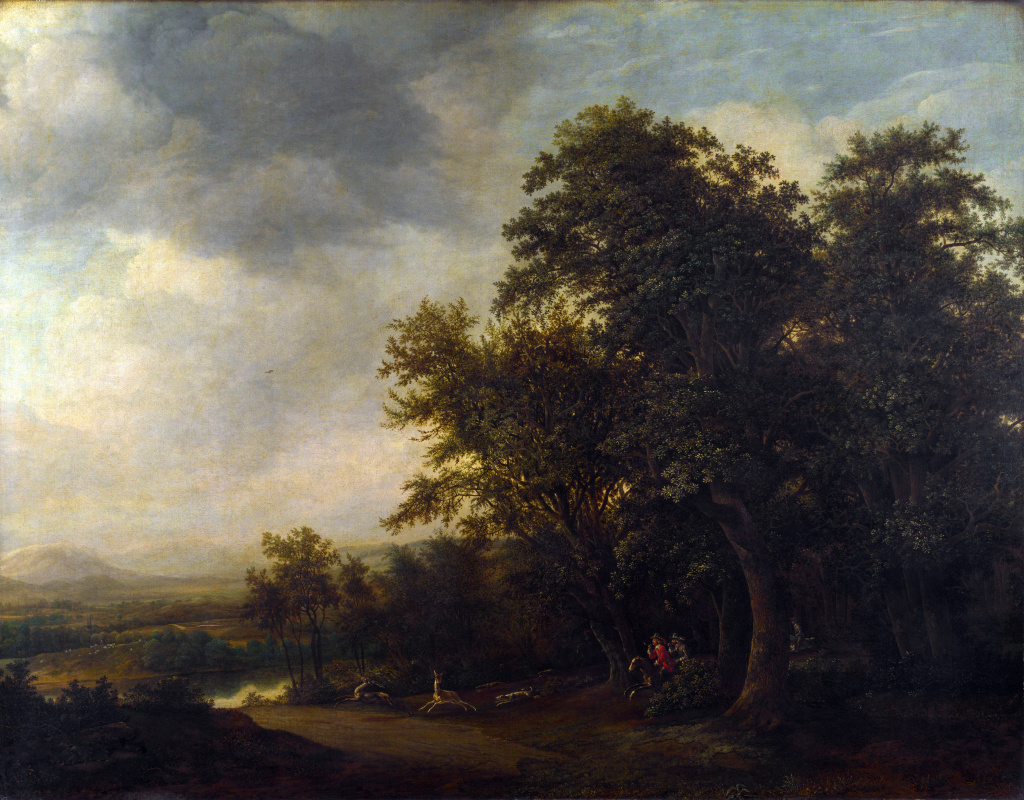 Ян де Лагур. Лесной пейзаж с охотниками