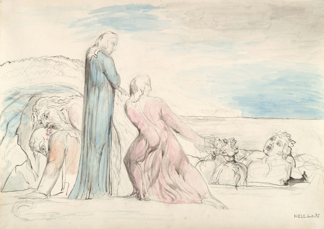 """Уильям Блейк. Данте тянет за волосы Бокку дельи Абати. Иллюстрации к """"Божественной комедии"""""""