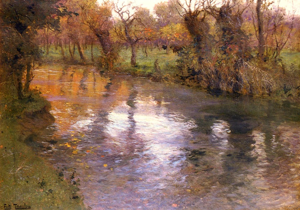 Frits Thaulow. Orchard on the banks of the river