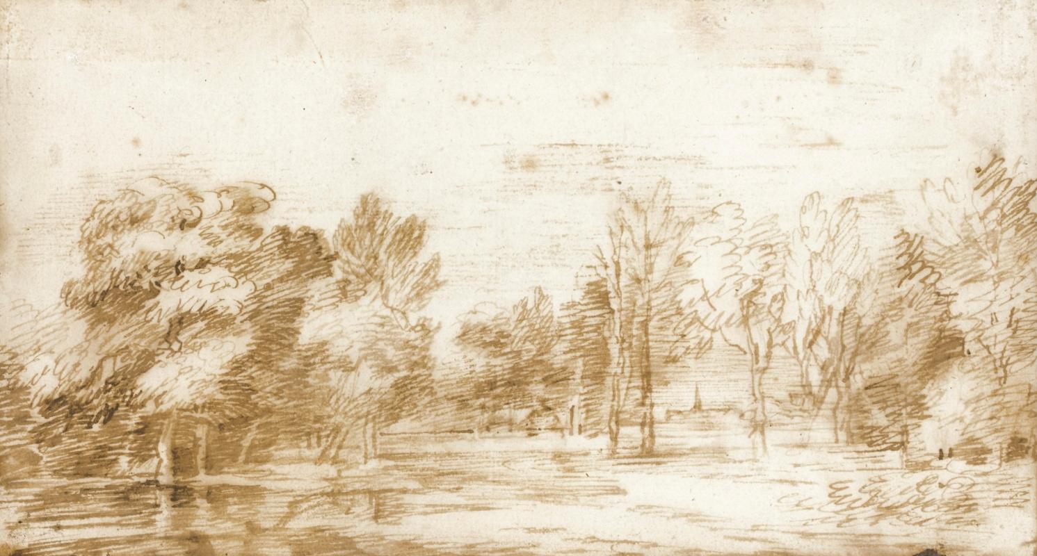 Ян Ливенс. Лесной пейзаж с церковью на горизонте