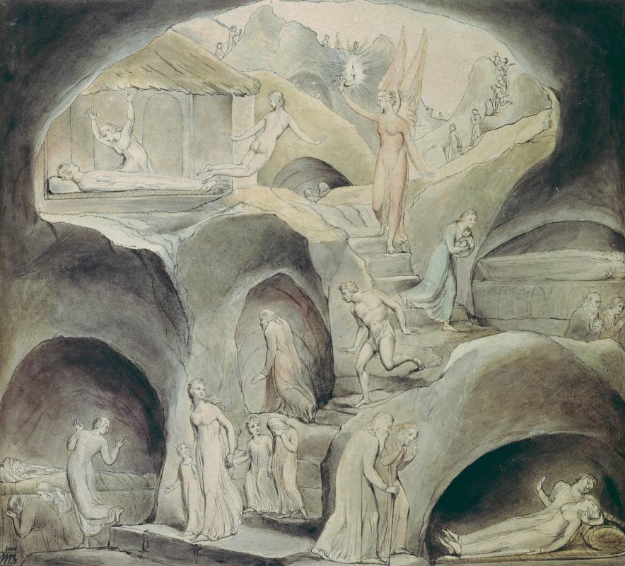 """Уильям Блейк. Спуск человека в Долину Смерти: Надежда освещает оттенки смерти. Иллюстрация к поэме Роберта Блэра """"Могила"""""""