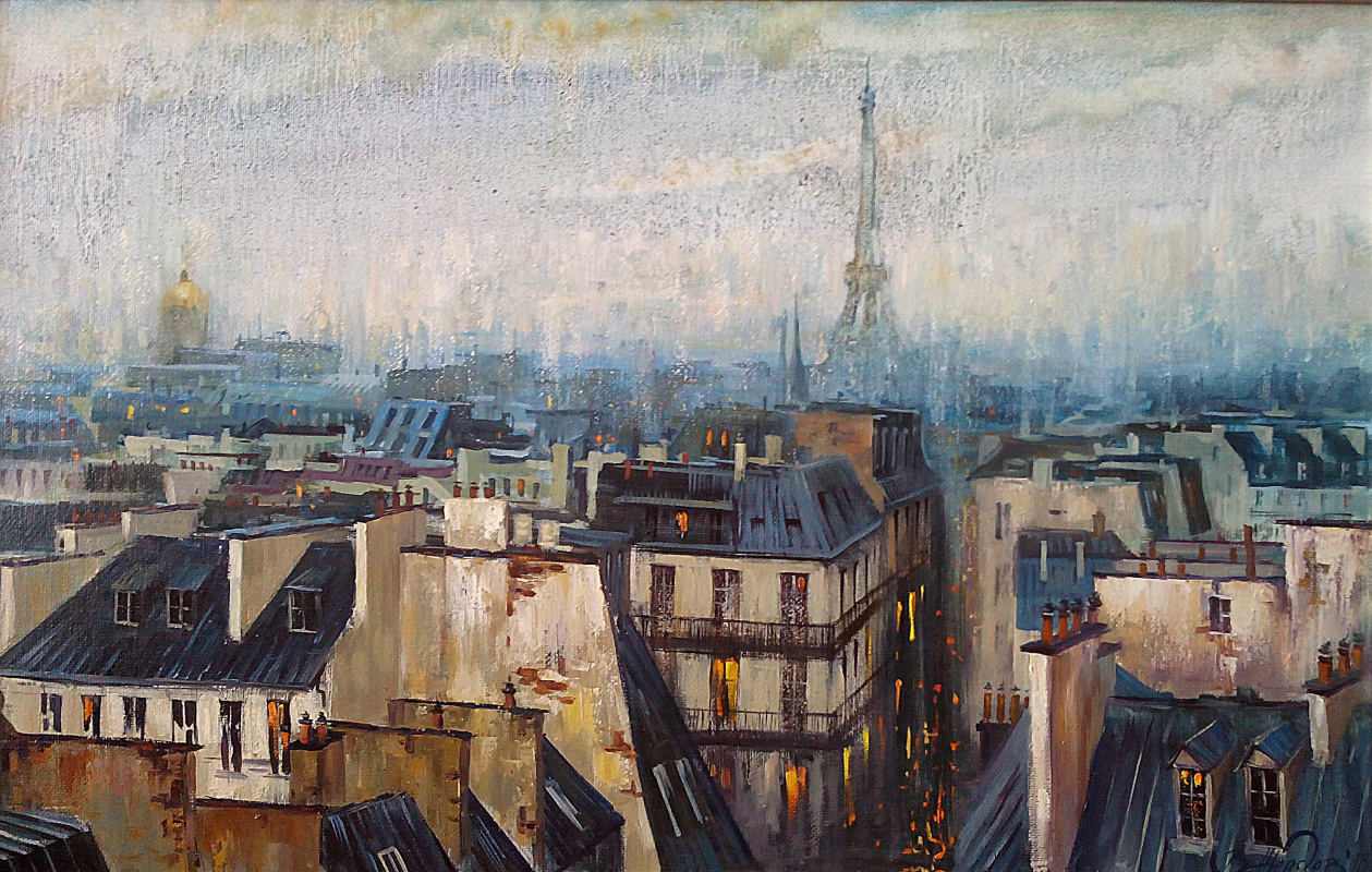 Виталий Викторович Жердев. Paris. Roofs. By Vitaliy Zherdev. 2013, oil on canvas, 60 x 90 cm.