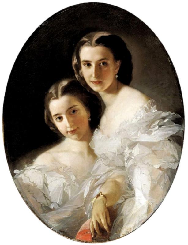 Ivan Kuzmich Makarov. Portrait of Olga and Varvara Arapova