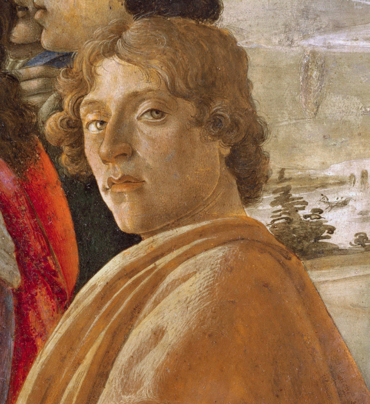 "Sandro Botticelli. A self-portrait. The altar fragment of the composition ""Adoration of the Magi"""