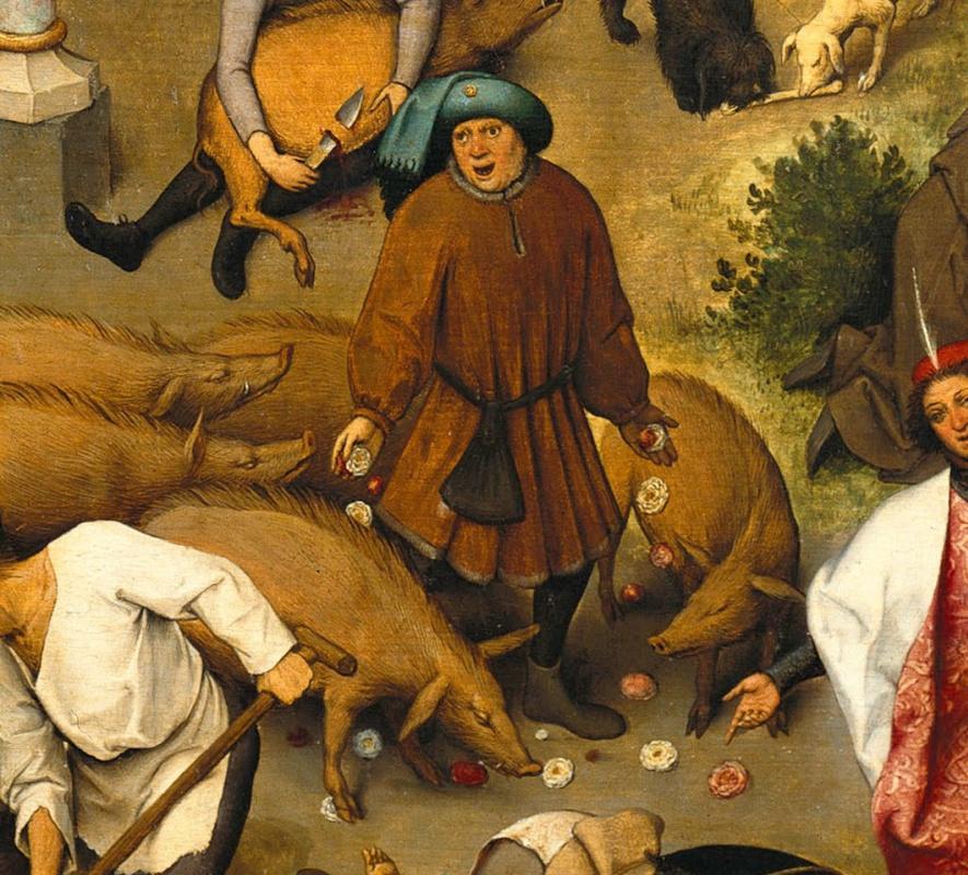 Питер Брейгель Старший. Фламандские пословицы. Фрагмент: Бросать розы перед свиньями - тратить ценное на недостойных