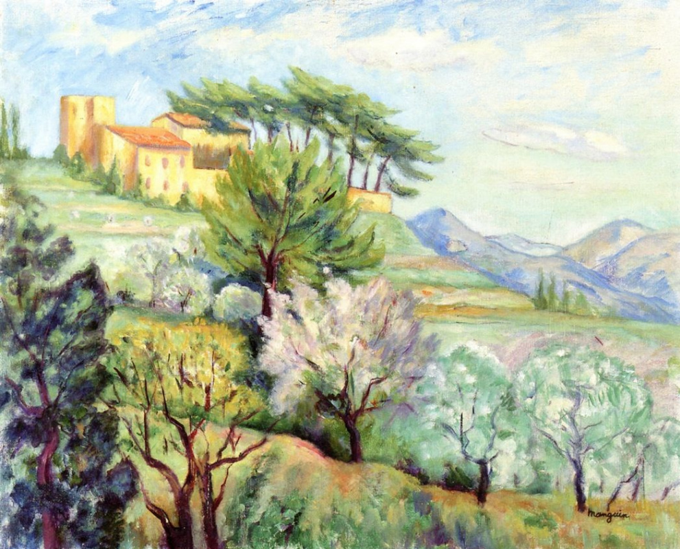 Анри Шарль Манген. Пейзаж с монастырем на холме