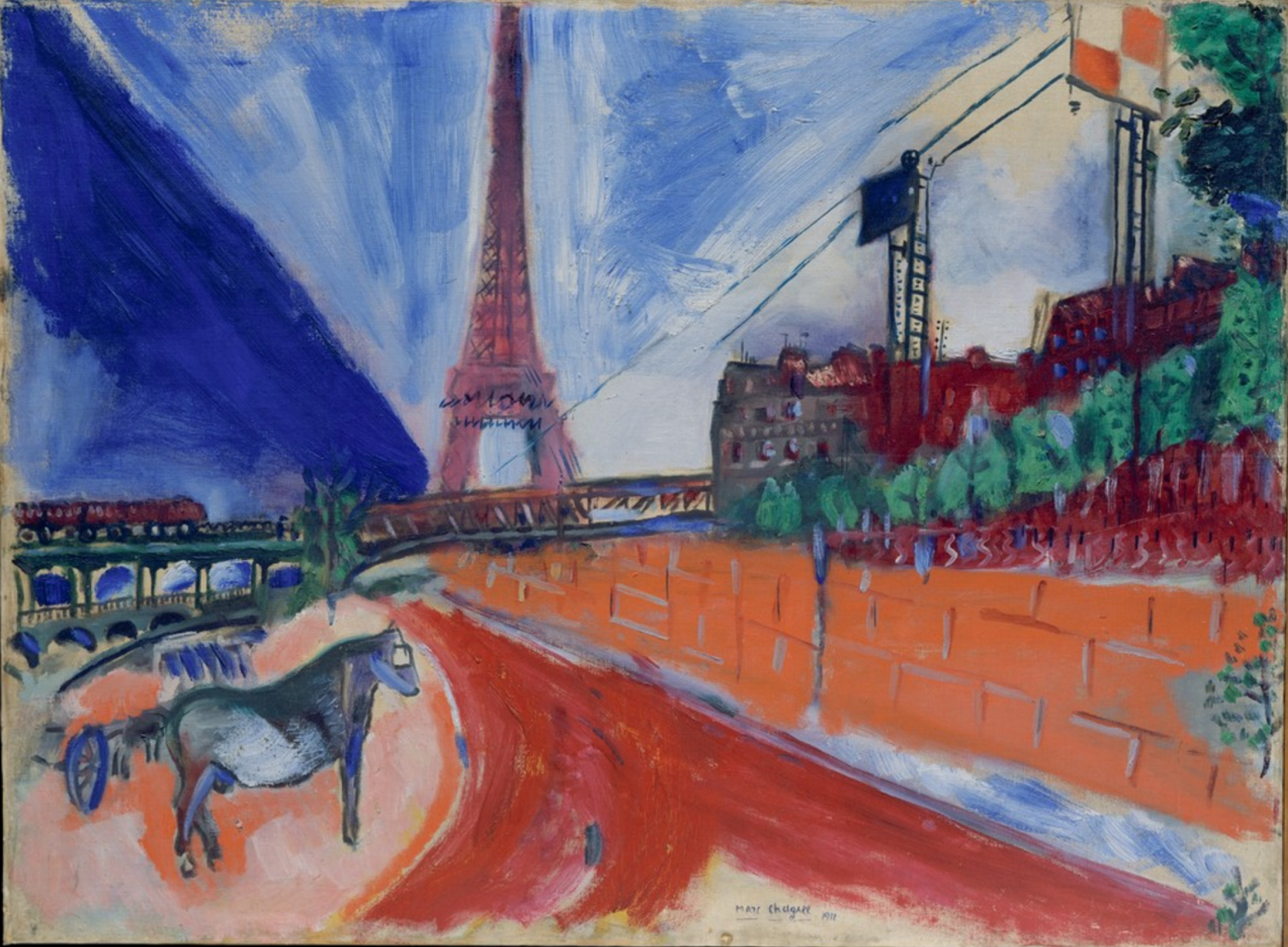 Marc Chagall. Arched bridge and the Eiffel tower
