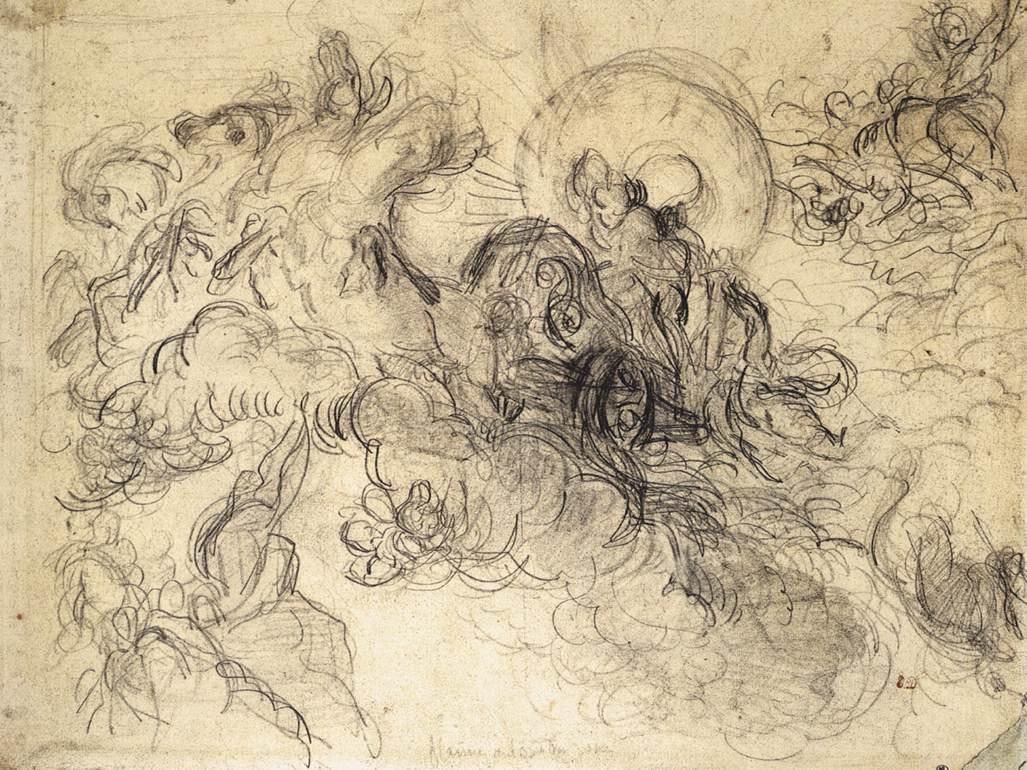 Eugene Delacroix. Apollo kills Python, sketch