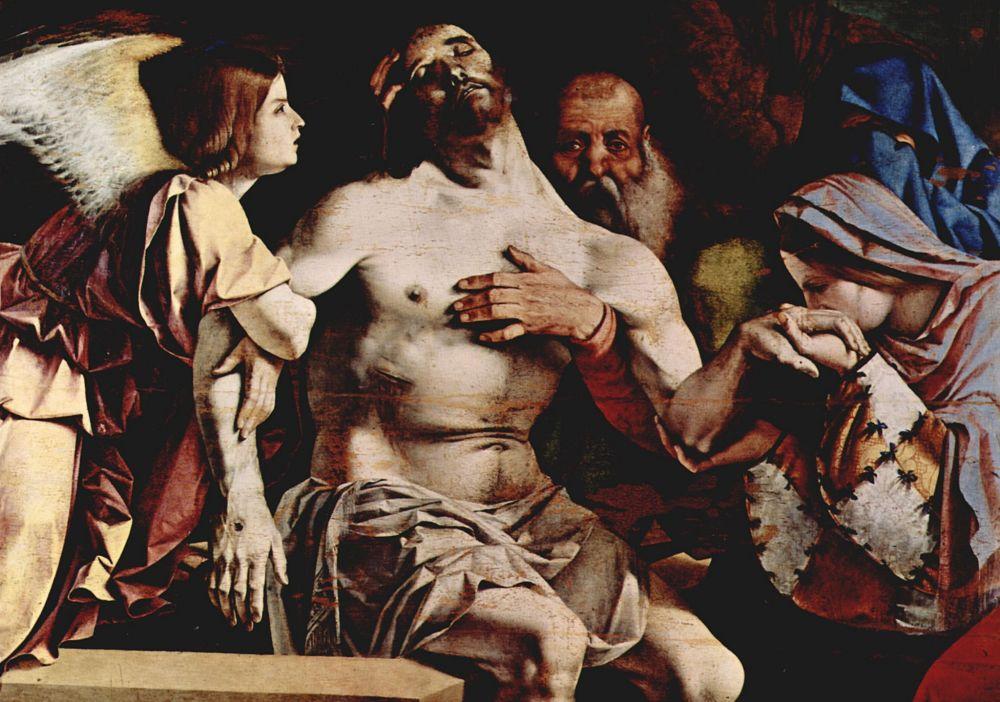 Лоренцо Лотто. Алтарный полиптих из Реценати, Увенчание центральной части: Ангел пьеты