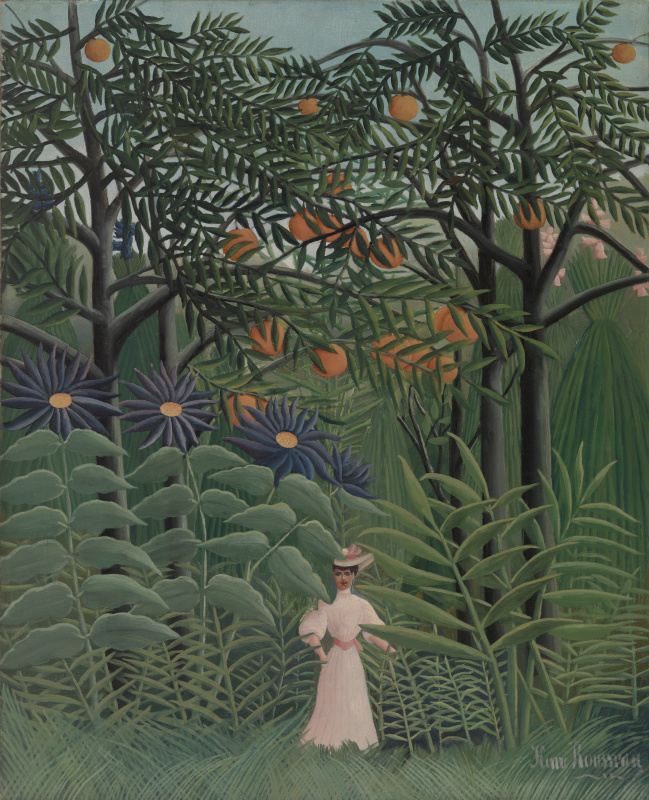 Henri Rousseau. Woman walking in an exotic forest