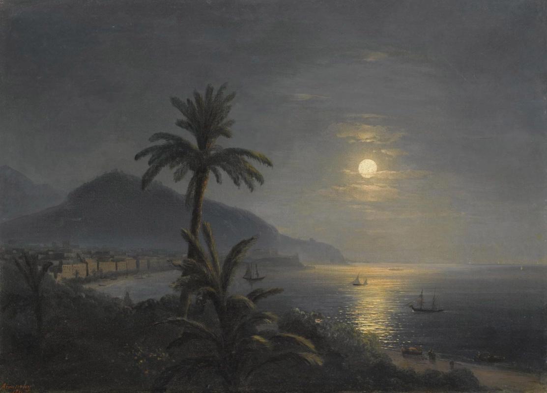 Ivan Aivazovsky. Palm trees near the sea in the moonlight