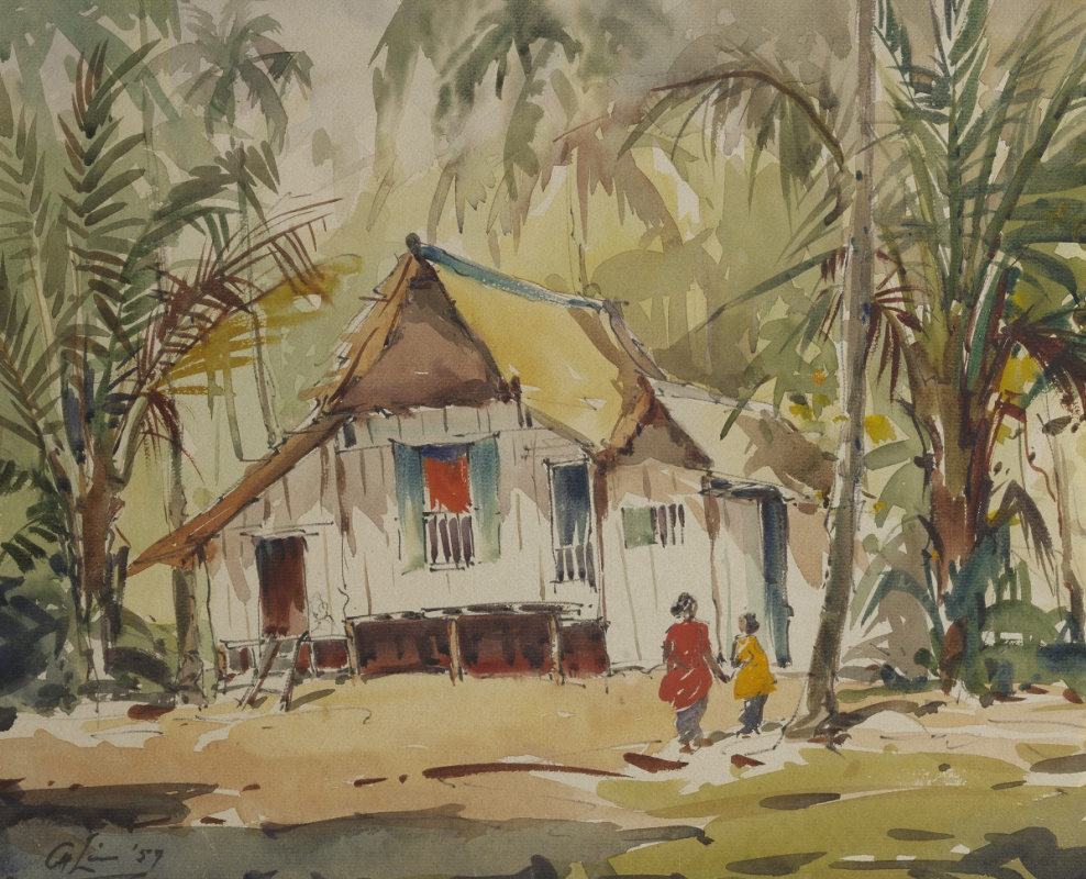 Lim Cheng Hoe. Not titled] (Kampong House with Two Figures)