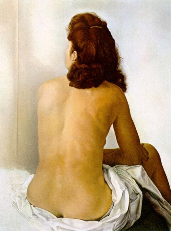 Salvador Dali. Gala Nude looking in an invisible mirror