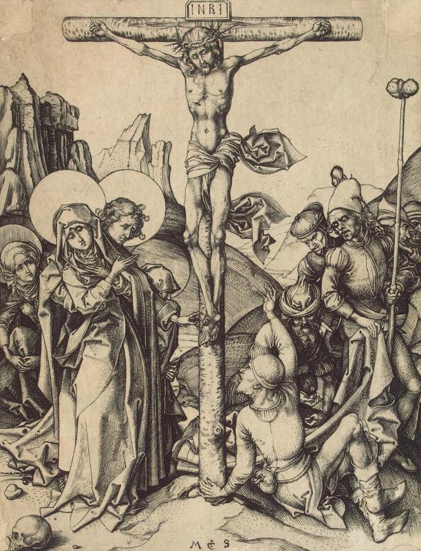 Мартин Шонгауэр. Распятие с солдатами, делящими одежды Христа