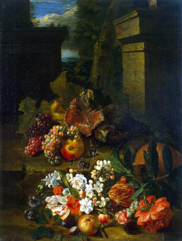Петер Снейерс. Цветы, фрукты и еж