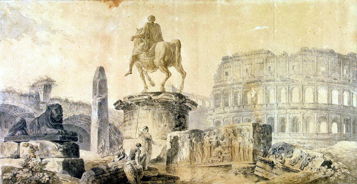 Гюбер Робер. Пейзаж с Колизеем и памятником Марку Аврелию