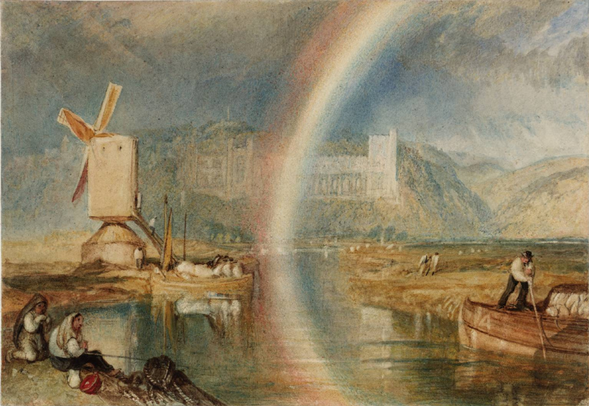 Joseph Mallord William Turner. The Arundel castle on the river Arun, with a rainbow