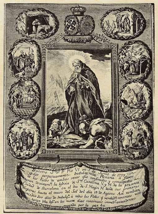 Гравер по меди из монастыря Санта Каталина в Барселоне. Святой Махинус