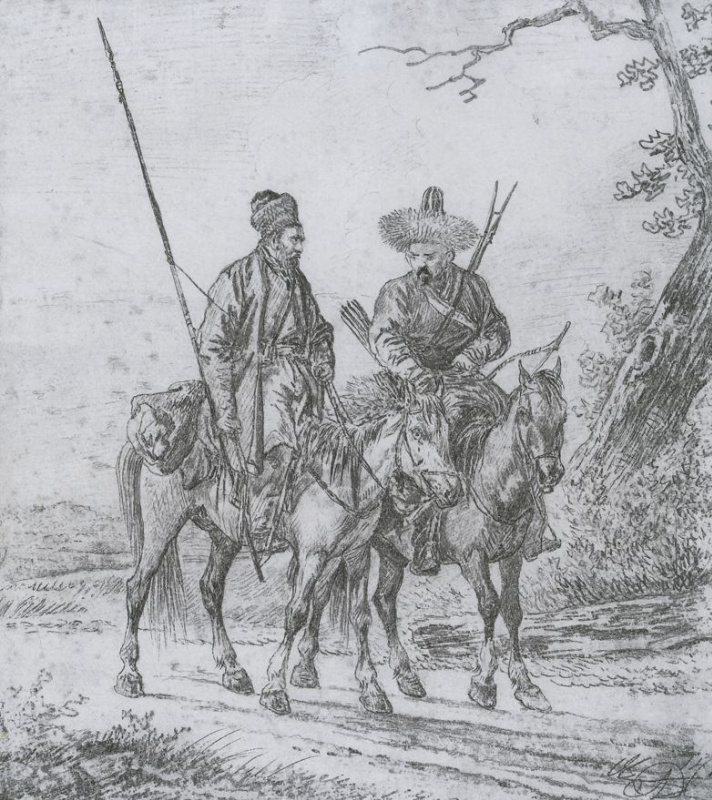 Alexander Osipovich Orel. Two riders-Bashkir
