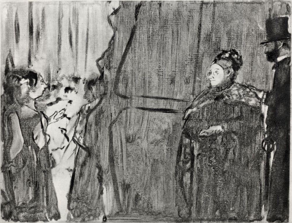 Эдгар Дега. Встреча Людовика Галеви и мадам Кардиналь за сценой