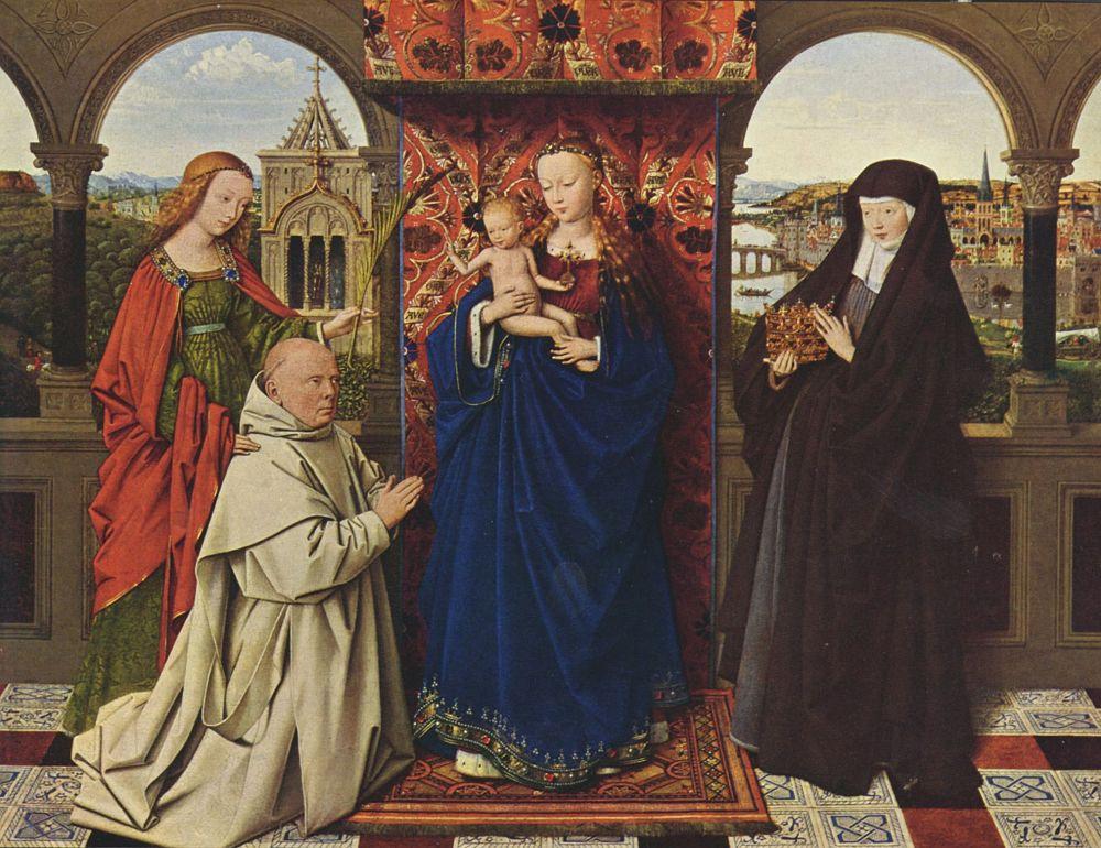 Ян ван Эйк. Мадонна с картезианским монахом
