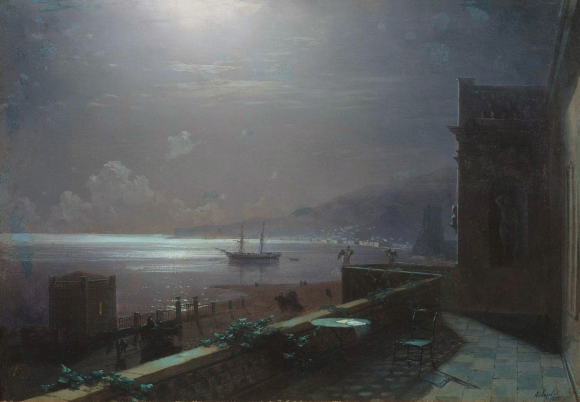 Ivan Aivazovsky. Feodosia at moonlit night. The view from artist`s balcony