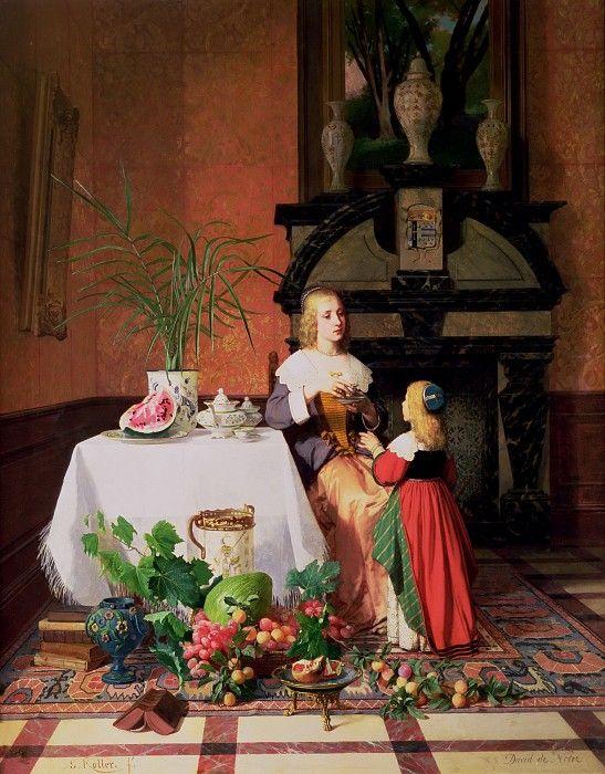 Давид Эмиль Жозеф де Нотер. Фигуры и фрукты на фоне интерьера