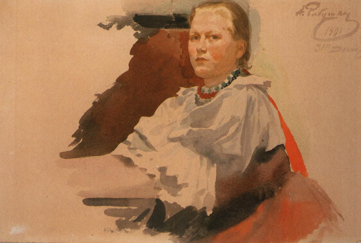 "Andrei Petrovich Ryabushkin. Girl in Russian costume. 1901 Study for the picture ""Girlfriends"""