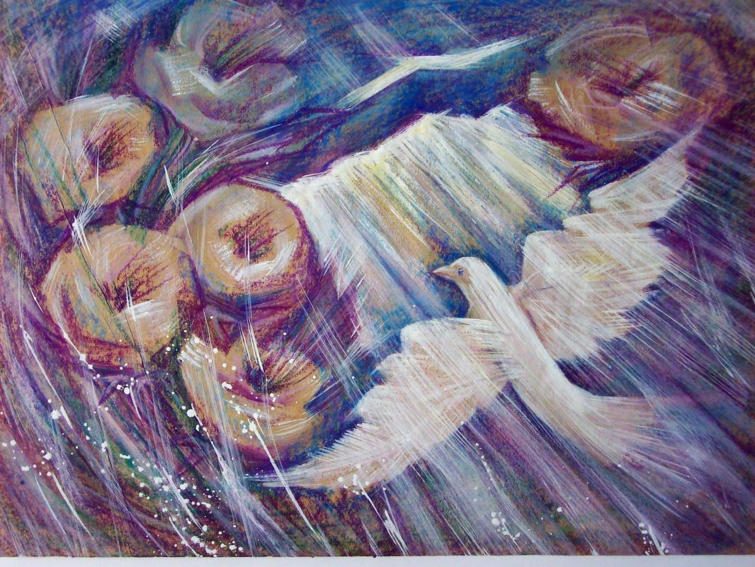 """Svetlana Ivanovna Kataeva. """"AND THE SUN BREAKED AGAIN"""", paper., Acrylic 42x62"""