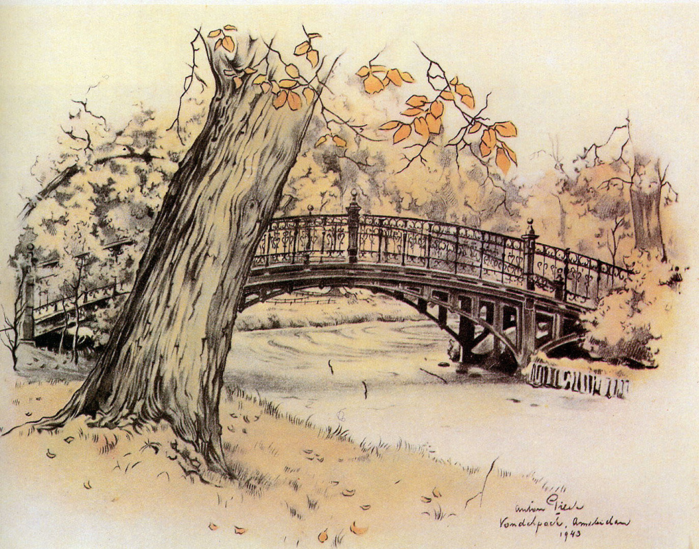 Anton Pieck. The bridge in the Park, Amsterdam