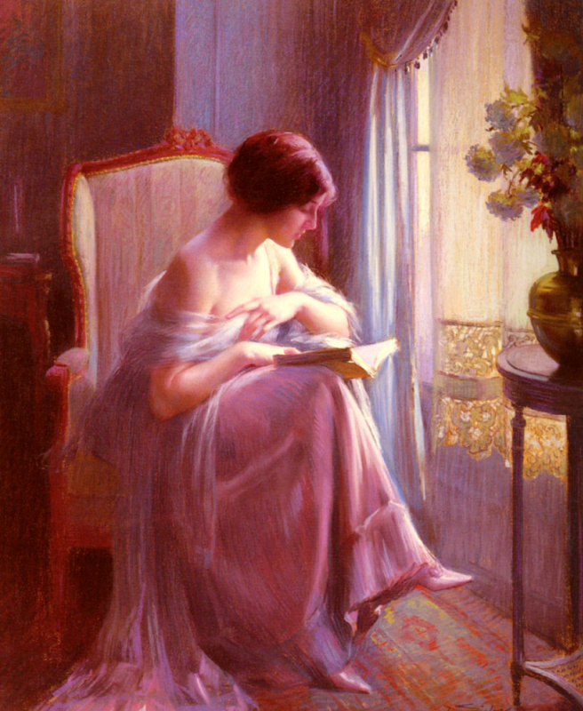 Dolphin Angolra. Young girl reading at the window