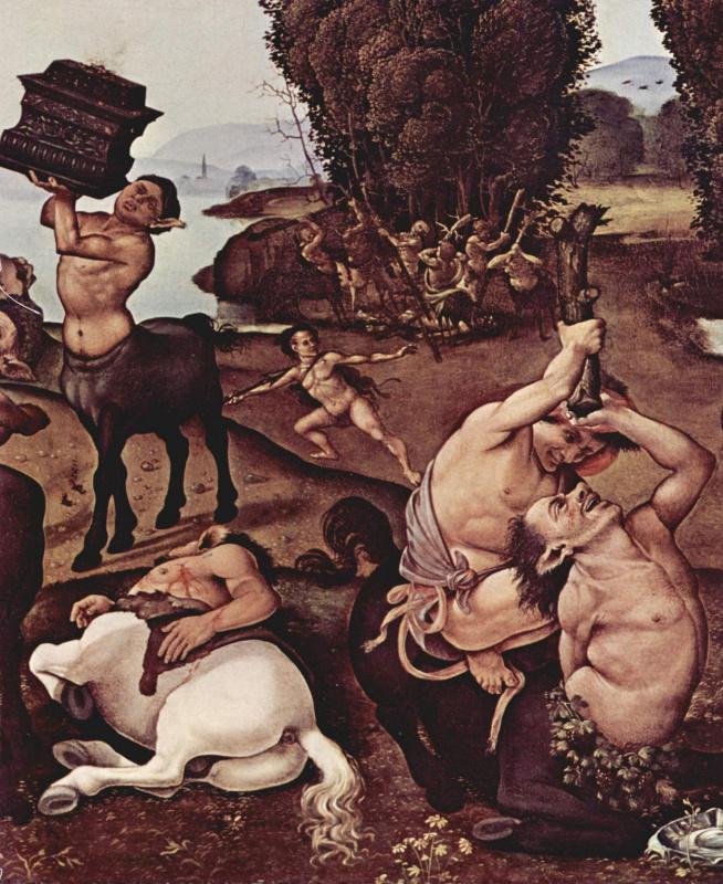 Пьеро ди Козимо. Битва кентавров и лапифов. Деталь