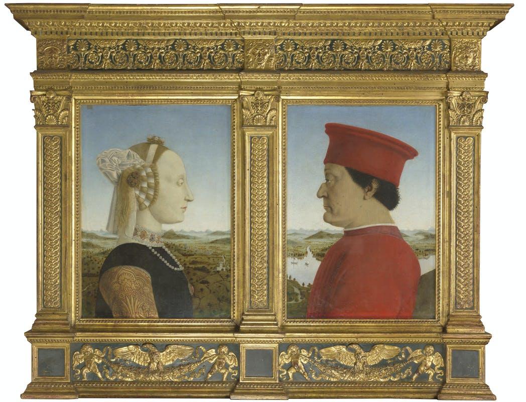 Piero della Francesca. Portrait of federigo da Montefeltro and Battista Sforza