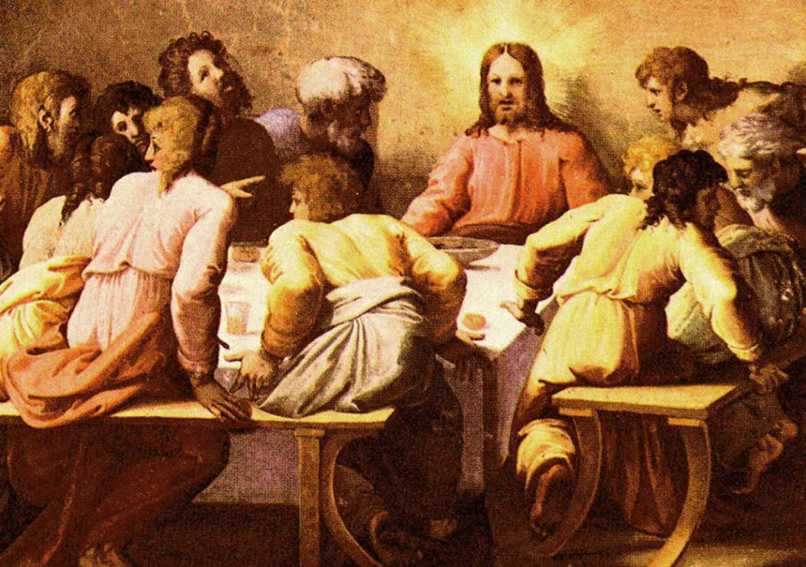 Raphael Sanzio. The last supper. The fresco of Raphael loggias of the Palace of the Pope in the Vatican