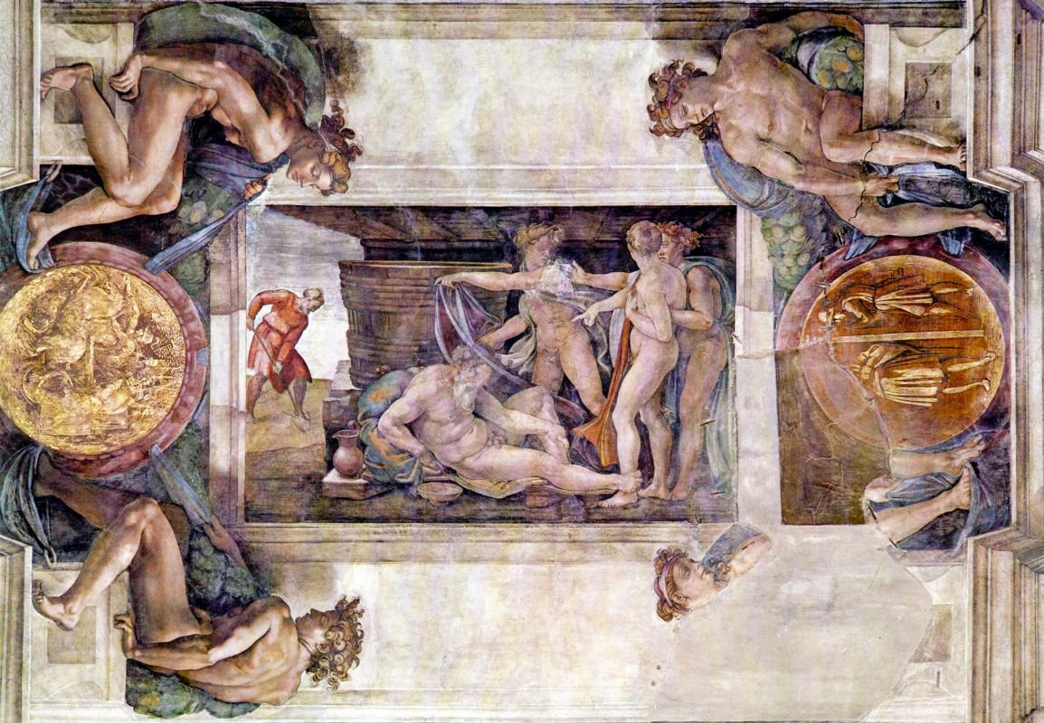 Michelangelo Buonarroti. The ceiling of the Sistine chapel. Detail. Drunkenness of Noah.