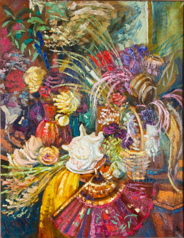 Екатерина Антропова. Still life with a large sink and dried flowers