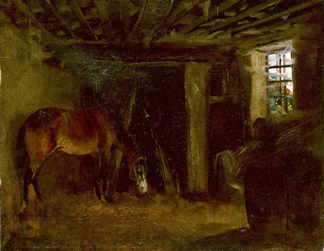 Théodore Géricault. Horse in the stable