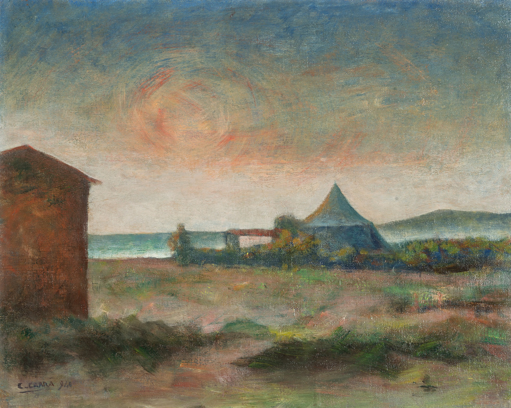 Карло Карра. Морской пейзаж. Палатка у моря