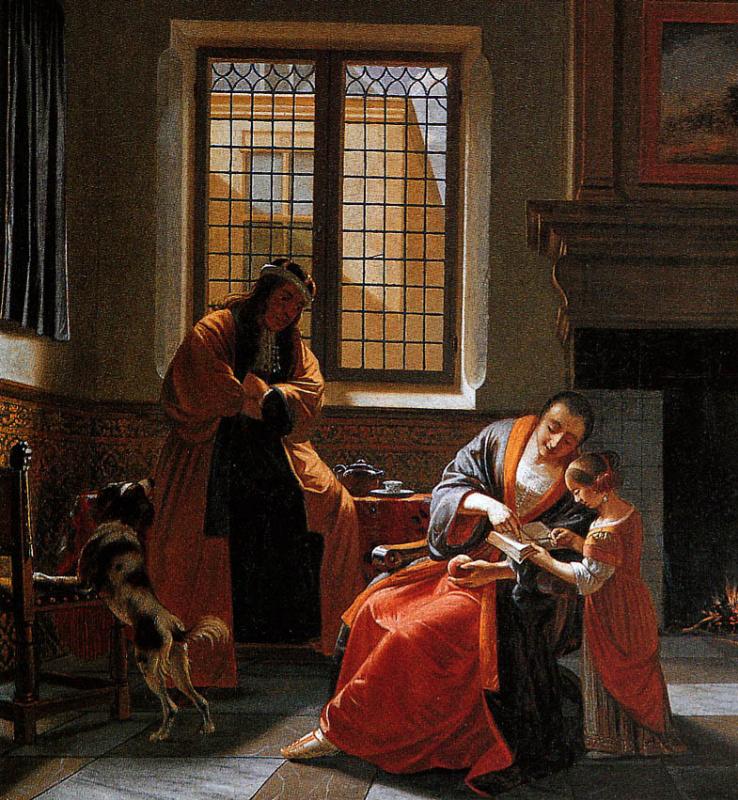 Корнелис де Мен. Чтение письма с мужем и ребенком