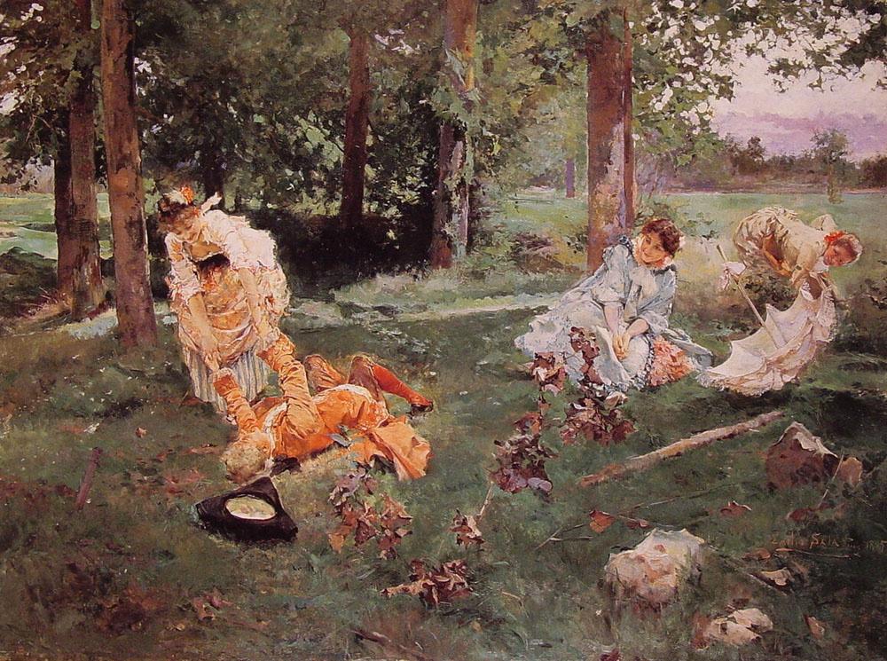 Эмилио Сала Фрэнсис. Элегантные дамы в летнем саду