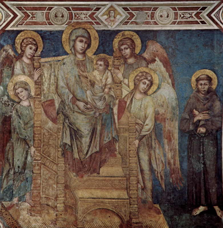 Cheney di Pepo Cimabue. The frescoes of the Lower Church of San Francesco in Assisi, the nave on the right: Madonna enthroned, four angels and St. Francis
