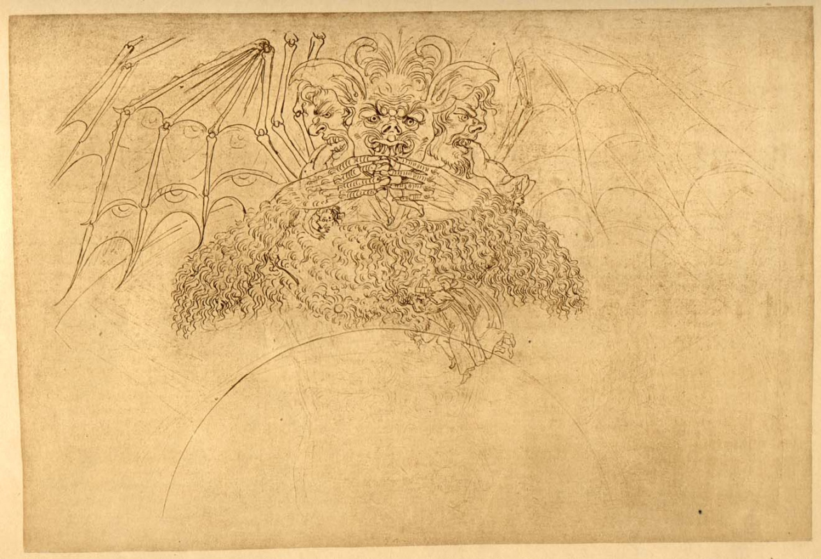 Sandro Botticelli. Lucifer. Hell. Illustration for the Divine Comedy
